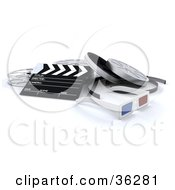 Clipart Illustration Of A Pair Of 3d Glasses With A Clapboard And Film Reels