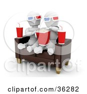 Clipart Illustration Of A White Character Couple On A Sofa Eating Popcorn And Watching A 3d Movie With Sodas At Their Sides by KJ Pargeter