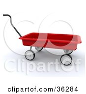 Clipart Illustration Of A Red Wagon With The Handle Positioned Upwards