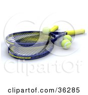 Clipart Illustration Of Two 3d Tennis Rackets With Yellow Balls by KJ Pargeter