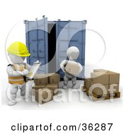 Clipart Illustration Of A 3d White Character Supervisor In A Safety Vest Watching Over A Worker As He Unloads Boxes by KJ Pargeter