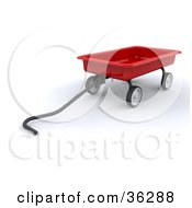Clipart Illustration Of A 3d Red Wagon With The Handle Resting On The Ground