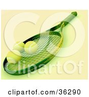 Clipart Illustration Of A 3d Tennis Racket With Three Balls On The Net With Green Tones by KJ Pargeter