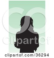 Clipart Illustration Of An Avatar Of A Silhouetted Woman With Layered Hair by KJ Pargeter