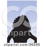 Clipart Illustration Of An Avatar Of A Silhouetted Woman With Layered Hair