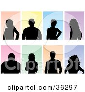 Clipart Illustration Of A Set Of Eight Silhouetted Gentlemen And Ladies On Colorful Backgrounds Over White