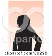Clipart Illustration Of An Avatar Of A Silhouetted Woman With Wavy Hair by KJ Pargeter