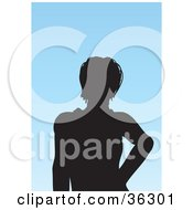 Clipart Illustration Of An Avatar Of A Silhouetted Woman With Short Hair by KJ Pargeter