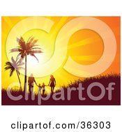 Clipart Illustration Of A Bright Orange Sunset Burst Silhouetting A Family Walking And Holding Hands Near Palm Trees On A Grassy Hill