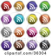 Clipart Illustration Of A Set Of Sixteen Colorful RSS Button Icons by KJ Pargeter