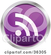 Clipart Illustration Of A Chrome Rimmed Purple RSS Button Icon by KJ Pargeter
