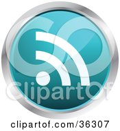 Chrome Rimmed Turquoise Rss Button Icon