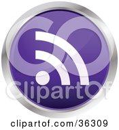 Chrome Rimmed Violet Rss Button Icon