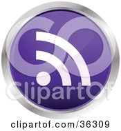 Clipart Illustration Of A Chrome Rimmed Violet RSS Button Icon by KJ Pargeter