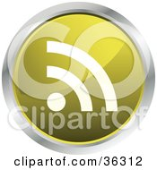 Chrome Rimmed Yellow Rss Button Icon
