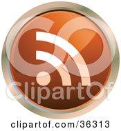 Chrome Rimmed Dark Orange Rss Button Icon