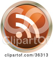 Clipart Illustration Of A Chrome Rimmed Dark Orange RSS Button Icon by KJ Pargeter