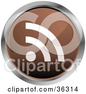 Clipart Illustration Of A Chrome Rimmed Brown RSS Button Icon by KJ Pargeter