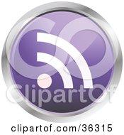 Chrome Rimmed Pale Purple Rss Button Icon