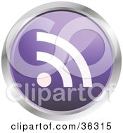 Clipart Illustration Of A Chrome Rimmed Pale Purple RSS Button Icon by KJ Pargeter