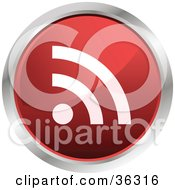 Chrome Rimmed Red Rss Button Icon