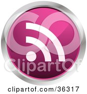 Clipart Illustration Of A Chrome Rimmed Pink RSS Button Icon by KJ Pargeter