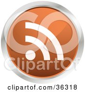 Clipart Illustration Of A Chrome Rimmed Orange RSS Button Icon by KJ Pargeter