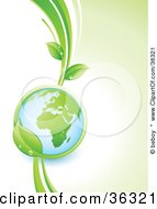 Clipart Illustration Of A Shiny Globe In The Grasp Of A Lush Green Leafy Vine Showing The African Continent