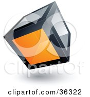 Clipart Illustration Of A Pre Made Logo Of A Cube With One Orange Transparent Window