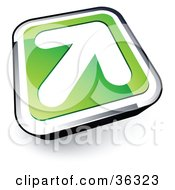 Clipart Illustration Of A Pre Made Logo Of A White Arrow On A Green And Chrome Button
