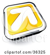 Clipart Illustration Of A Pre Made Logo Of A White Arrow On A Yellow And Chrome Button