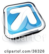 Clipart Illustration Of A Pre Made Logo Of A White Arrow On A Blue And Chrome Button