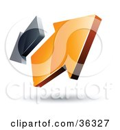Clipart Illustration Of A Pre Made Logo Of Orange And Gray Arrows Going In Opposite Directions