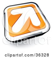 Clipart Illustration Of A Pre Made Logo Of A White Arrow On An Orange And Chrome Button