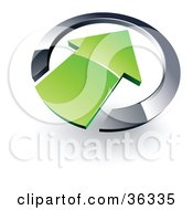 Clipart Illustration Of A Pre Made Logo Of A Green Arrow Pointing Inwards In A Chrome Circle by beboy