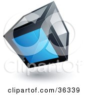 Clipart Illustration Of A Pre Made Logo Of A Cube With One Blue Transparent Window by beboy #COLLC36339-0058