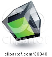 Clipart Illustration Of A Pre Made Logo Of A Cube With One Green Transparent Window