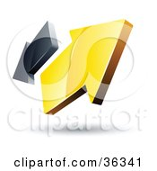 Clipart Illustration Of A Pre Made Logo Of Yellow And Gray Arrows Going In Opposite Directions