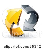 Clipart Illustration Of A Pre Made Logo Of Gray And Yellow Circling Arrows