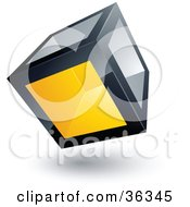 Clipart Illustration Of A Pre Made Logo Of A Cube With One Yellow Transparent Window
