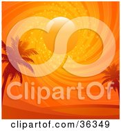 Clipart Illustration Of Two Palm Trees Silhouetted Under A Swirling Sparkling Orange Sunset Sky by elaineitalia