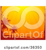 Clipart Illustration Of A Grunge Border With Silhouetted Palm Trees Under Orange Sun Rays by elaineitalia