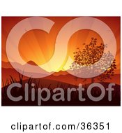 Clipart Illustration Of A Bursts Of Light Spanning In An Orange Sunset Sky With Birds Over Hills Grasses And A Tree by elaineitalia