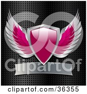 Clipart Illustration Of A Pink And Chrome Heraldic Winged Shield With A Blank Banner On A Grid Background
