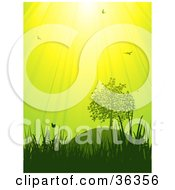 Clipart Illustration Of Birds And Butterflies Above Grasses And Trees Under A Bright Green And Yellow Sky by elaineitalia