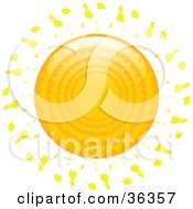 Clipart Illustration Of An Orange Sun With Rings On The Surface And Rays Of Light