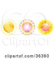 Clipart Illustration Of Three Unique And Colorful Suns