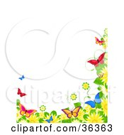 Clipart Illustration Of A Border Of Spring Flowers And Colorful Butterflies Over A White Background
