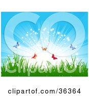 Clipart Illustration Of Colorful Butterflies Frolicking Above Grass In Front Of A Bursting Sparkling Blue Sky