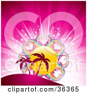 Clipart Illustration Of Palm Trees Silhouetted Against A Bursting Pink Background With A Rainbow Sun